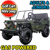 Gas Golf Cart - Mini Jeep With Lights Mirrors & Seat Belts 125cc