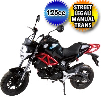 125cc Monster Motorcycle Moped Scooter w/ Manual Trans - PMZ125-2