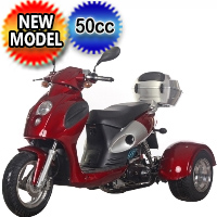 Bullseye 50cc Trike Gas Moped Scooter - PST50-14