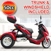 Terifecta 50cc Trike Scooter 4 Stroke Gas Trike Moped Free Trunk & Windshield - PST50-2
