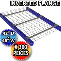 "Inverted Flange Mesh Deck 42""d x 46""w 3 Flange Channel - 300 Piece Pack - 4246-BMEMM-3NB42U-G"