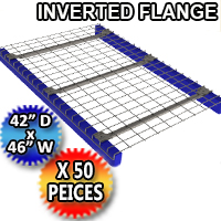 "Inverted Flange Mesh Deck 42""d x 46""w 3 Flange Channel - 50 Piece Pack - 4246-BMEMM-3NB42U-G"