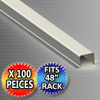 "Pallet Rack Support 44.375"" x 2.0"" x 1.625"" Hat Shaped Style - Fits 48"" Rack - 100 Piece Pack"