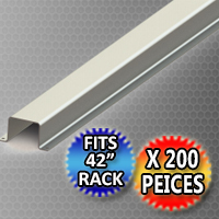 """Pallet Rack Support 38.375"""" x 2.0"""" x 1.625"""" Hat Shaped Style - Fits 42"""" Rack - 200 Piece Pack"""