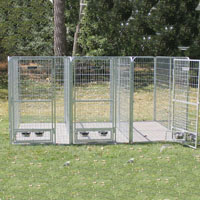 4' x 6' x 6' Multiple Modular Welded Wire Professional Kennel Dog Run for Three Dogs