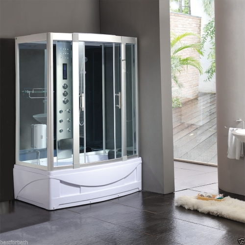 Rectangle Steam Shower and Tub Enclosure with Hydro Massage Jets 59 ...