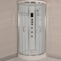 "Corner Steam Shower Room Enclosure with Hydro Massage Jets 32"" x 32"""