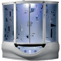 "Superior Steam Shower & Hydro Massage Whirlpool Bathtub w/ 12"" TV, Touchscreen Panel & Bluetooth"