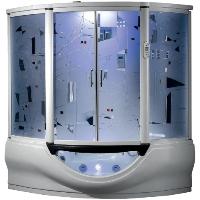 "Superior Steam Shower & Hydro Massage Whirlpool Bathtub w/ 12"" TV, Touchscreen Panel & Bluetooth"