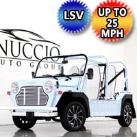Moke LSV Electric Golf Cart American Mini 4 Seater In Stock - Blue & White