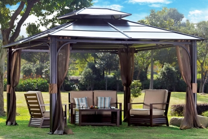 10 x 12 Outdoor Hardtop Polycarbonate Roof Patio Gazebo w/Netting ...