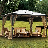 10 x 12 Outdoor Hardtop Polycarbonate Roof Patio Gazebo w/Netting & Metal Frame