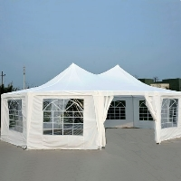 Decagonal Wedding Party Gazebo Tent Canopy - White