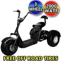 Electric Fat Tire E-Mod 2000W 60V 20AH 3 Wheel Mobility Scooter Trike w/Off Road Tires