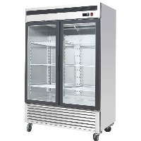 "55"" Commercial Glass 2 Double Door Freezer Reach In Merchandiser Cooler"