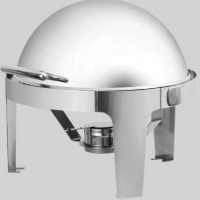 Stainless Commercial Round Roll Top Chafing Dish Restaurant Food Warmer Server