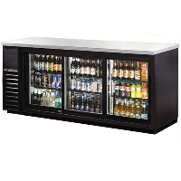 "72"" Commercial Black Triple Door Back Bar Cooler Refrigerator Beer Dispenser"