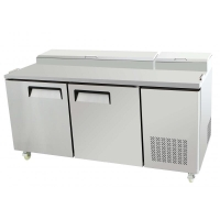 "Restaurant Style 67"" 2 Door Refrigerated Pizza Salad Prep Table 20 Cu. Ft."