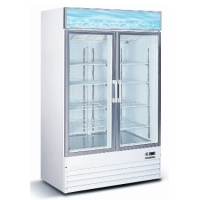 "Commercial 50"" Glass Double Door Reach In Freezer Ice Merchandiser Machine"