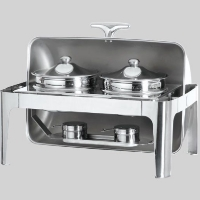 Heavy Duty Stainless Steel Double Soup Station Roll Top Chafing Dish Food Warmer Server