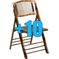 High Quality Package of 10 Bamboo Design Folding Chairs
