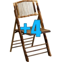 High Quality Package of 4 Bamboo Design Folding Chairs