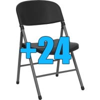 High Quality Package of 24 Charcoal Steel Frame Folding Chairs