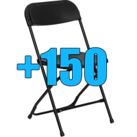High Quality Package of 150 Black Steel Frame Folding Chairs