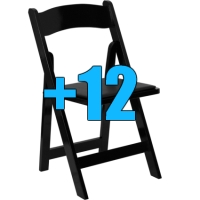 High Quality Package of 12 Padded Black Wood Frame Folding Chairs