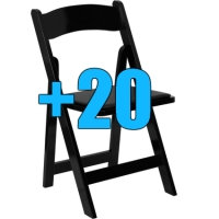 High Quality Package of 20 Padded Black Wood Frame Folding Chairs