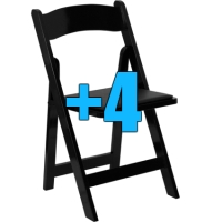 High Quality Package of 4 Padded Black Wood Frame Folding Chairs
