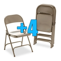 High Quality Package of 4 Heavy Duty Bronze Metal Folding Chairs