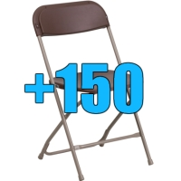 High Quality Package of 150 Brown Steel Frame Folding Chairs