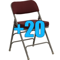 High Quality Package of 20 Burgundy Upholstered Folding Chairs