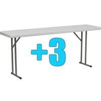 High Quality Package of 3 6ft Folding Tables