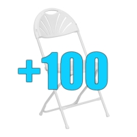 High Quality Package of 100 White Steel Frame Fan Back Folding Chairs