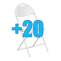 High Quality Package of 20 White Steel Frame Fan Back Folding Chairs