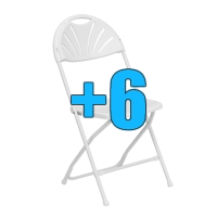High Quality Package of 6 White Steel Frame Fan Back Folding Chairs
