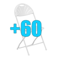 High Quality Package of 60 White Steel Frame Fan Back Folding Chairs