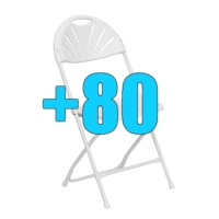 High Quality Package of 80 White Steel Frame Fan Back Folding Chairs