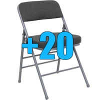 High Quality Package of 20 Grey Upholstered Folding Chairs