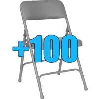 High Quality Package of 100 Grey Padded Steel Frame Folding Chairs