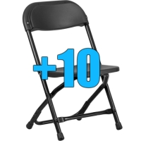 High Quality Package of 10 Black Kid Sized Folding Chairs