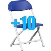 High Quality Package of 10 Blue Kid Sized Folding Chairs