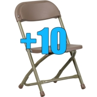 High Quality Package of 10 Brown Kid Sized Folding Chairs