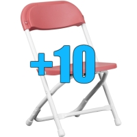 High Quality Package of 10 Pink Kid Sized Folding Chairs