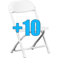 High Quality Package of 10 White Kid Sized Folding Chairs