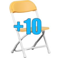 High Quality Package of 10 Yellow Kid Sized Folding Chairs