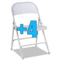 High Quality Package of 4 Heavy Duty Light Grey Metal Folding Chairs