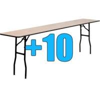 High Quality Package of 10 8ft Wooden Folding Tables